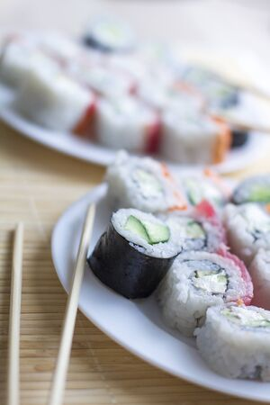 Sushi. Japanese national cuisine. Traditional fresh japanese sushi rolls Stock Photo