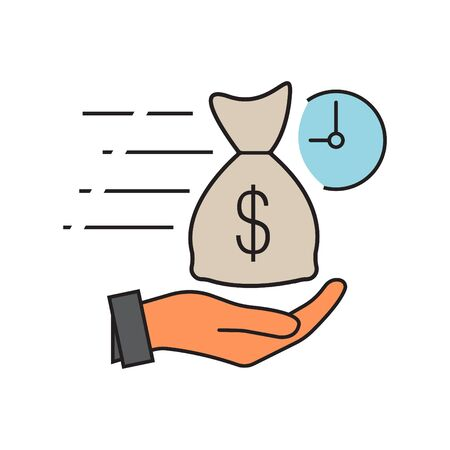 Quick and easy loan fast money providence icon vector illustration. easy instant credit, loan payment, fast money icon, finance color symbol for web and mobile phone on white background