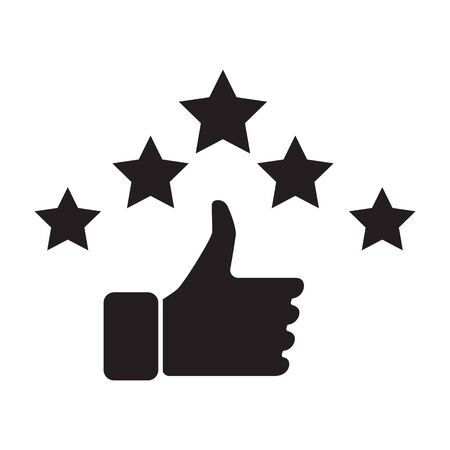 Hand and star signage design trendy. Like black icon. Thumbs up illustration. Good, nice, ok hand gesture. Social media button. Rating, ranking. Contour symbol. Vector isolated outline. Banque d'images - 132053918