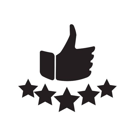 Hand and star signage design trendy. Like black icon. Thumbs up illustration. Good, nice, ok hand gesture. Social media button. Rating, ranking. Contour symbol. Vector isolated outline. Banque d'images - 132053799