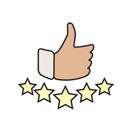 Hand and star signage design trendy. Like color icon. Thumbs up illustration. Good, nice, ok hand gesture. Social media button. Rating, ranking. Contour symbol. Vector isolated outline. Banque d'images - 132053725