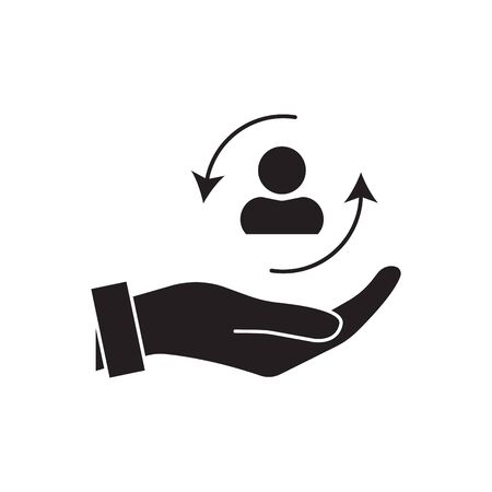 care customer icon, total inclusive service, lsymbol on white background - editable stroke vector illustration eps 10. Patient Assistance vector icon. Style is flat rounded symbol, black color Illustration
