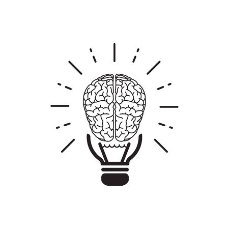 brainstorm idea outline flat icon. Single high quality outline logo symbol for web design or mobile app. Thin line brain think logo. Gray idea icon pictogram isolated on white background. brain icon Illustration