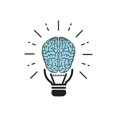 brainstorm idea outline flat icon. Single high quality outline logo symbol for web design or mobile app. brain logo. Gray idea icon pictogram isolated on white background. brain icon