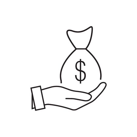 Money in  icon in trendy flat style design. Vector graphic illustration. Suitable for website design, logo, app, and ui.  .  and a bag of dollars money.  and dollar money bag icon.