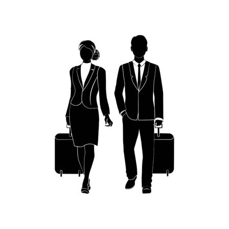 Businessman or a manager comes with a suitcase for traveling. Large briefcase on wheels. The concept of the beginning of travel. Flat vector illustration. Business woman  with a suitcase for traveling