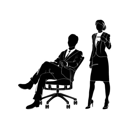 Businessman, manager is sitting in an office chair vector. Businesswoman is standing with a cup of coffee or tea black on white background.