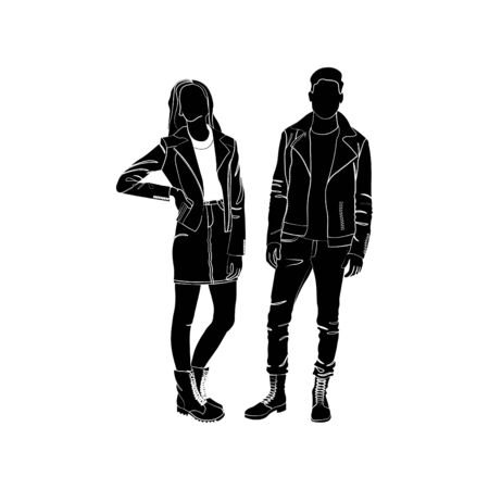 Fashionable girl and guy vector. Fashion. Man and woman silhouette vector. Fashionable young couple. Girl in a denim skirt and denim jacket. Guy in jeans, turtles and leather scythe