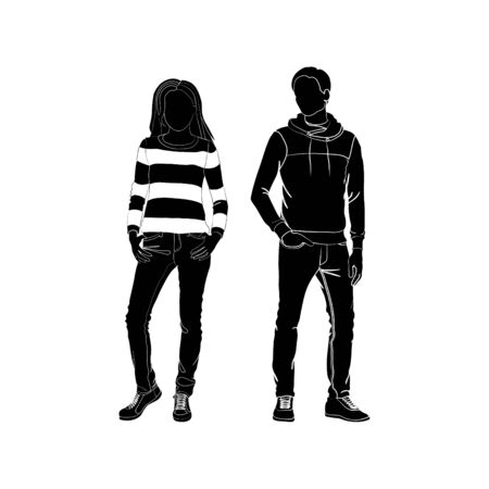 Fashionable girl and guy vector. Fashion. Man and woman silhouette vector. Fashionable young couple. Girl in jeans and jumper. Guy in jeans and jumper Illustration