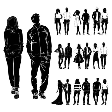 Set of trendy guys and girls vector. Fashionable man and woman vector. Fashionable young couples. Fashion concept vector black on the white background isolated. Clothes for different occasions.