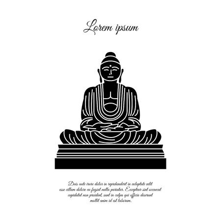Buddha statue icon vector.  sign for mobile concept and web design. Buddha in meditation position outline vector icon. Buddhism symbol, logo illustration. Vector graphics black on white