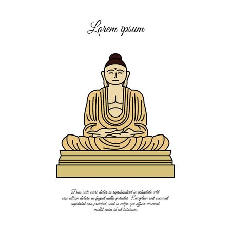 Buddha statue icon vector.  sign for mobile concept and web design. Buddha in meditation position outline vector icon. Buddhism symbol, logo illustration. Vector graphics color on white Çizim