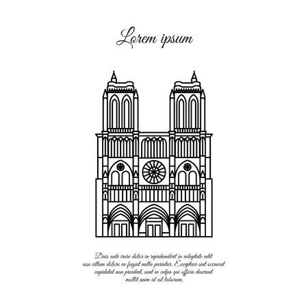 Notre Dame de Paris line vector. Travel vector banner or logo. The famous Cathedral of Notre Dame de Paris, France. French landmark. The Catholic Church in the center of Paris, Gothic architecture