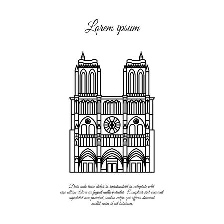 Notre Dame de Paris line vector. Travel vector banner or logo. The famous Cathedral of Notre Dame de Paris, France. French landmark. The Catholic Church in the center of Paris, Gothic architecture