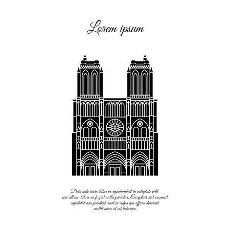 Notre Dame de Paris black vector. Travel vector banner or logo. The famous Cathedral of Notre Dame de Paris, France. French landmark. The Catholic Church in the center of Paris, Gothic architecture