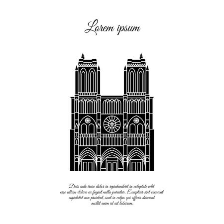 Notre Dame de Paris black vector. Travel vector banner or logo. The famous Cathedral of Notre Dame de Paris, France. French landmark. The Catholic Church in the center of Paris, Gothic architecture