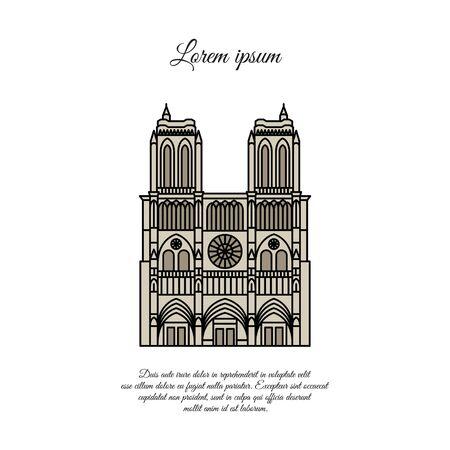 Notre Dame de Paris color vector. Travel vector banner or logo. The famous Cathedral of Notre Dame de Paris, France. French landmark. The Catholic Church in the center of Paris, Gothic architecture