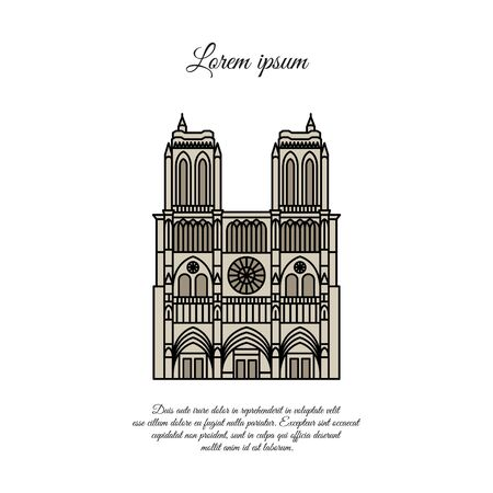 Notre Dame de Paris color vector. Travel vector banner or logo. The famous Cathedral of Notre Dame de Paris, France. French landmark. The Catholic Church in the center of Paris, Gothic architecture
