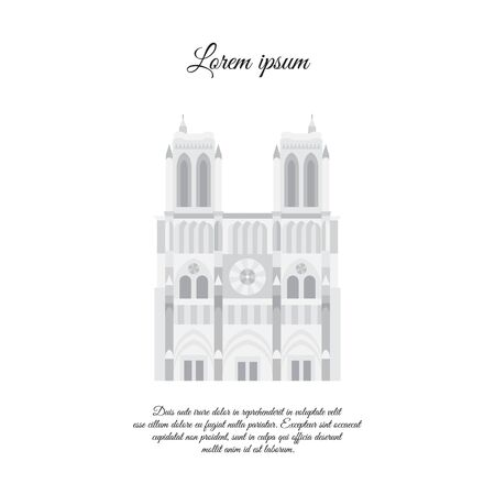 Notre Dame de Paris gray vector. Travel vector banner or logo. The famous Cathedral of Notre Dame de Paris, France. French landmark. The Catholic Church in the center of Paris, Gothic architecture