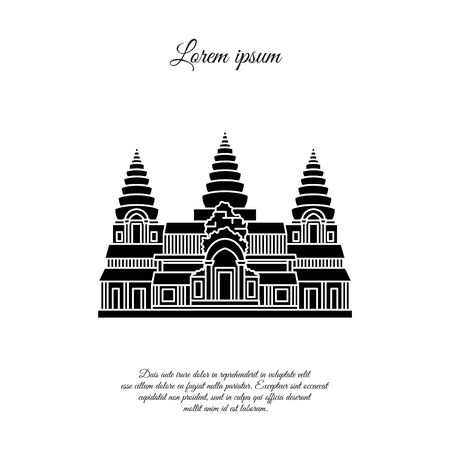 Angkor Wat vector icon isolated on white background, Angkor Wat transparent sign, element design in outline style. Cambodia. Historical Landmarks Symbol. Editable Stroke. black Çizim