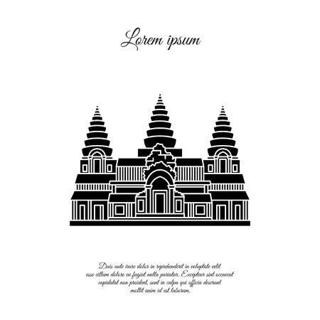 Icône de vecteur d'Angkor Wat isolé sur fond blanc, signe transparent d'Angkor Wat, conception des éléments dans le style de contour. Cambodge. Symbole de monuments historiques. Course modifiable. le noir