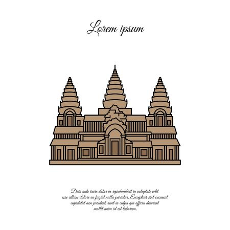 Angkor Wat vector icon isolated on white background, Angkor Wat sign, element design in outline style. Cambodia. Historical Landmarks Symbol. Editable Stroke. color