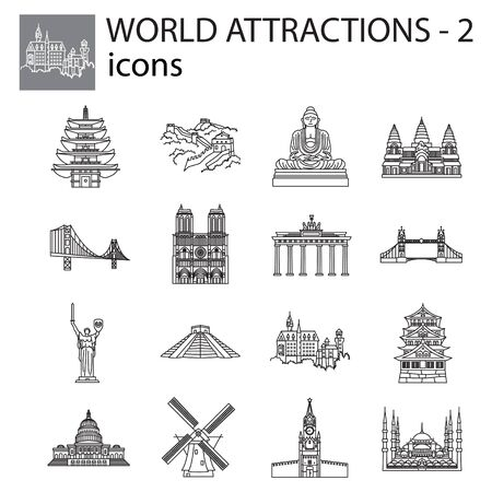 World Attractions icon line, linear vector set. Black signs, symbols. Icons for tourism. Set of stylish icons on a white background. Çizim