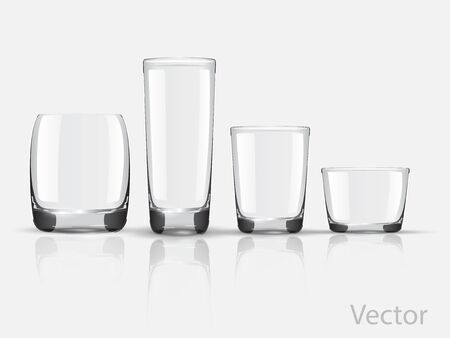 Empty realistic glasses set for different drinks and cocktails on gray background isolated vector illustration. Collection of various glasses isolated on gray. Empty. Non transparent gradient mesh Vector Illustration
