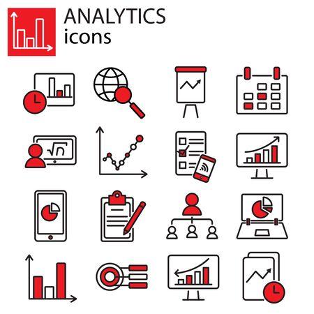 Web icons set - Search Engine Optimization, Analytics Illustration