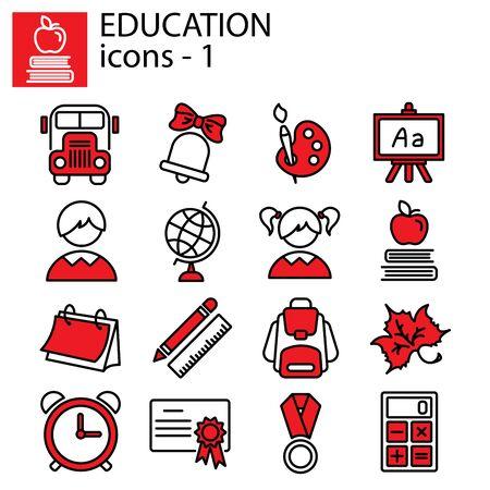 Web line set. Education (school) Illustration