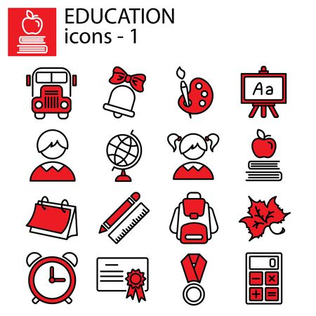 Web line set. Education (school) Illustration
