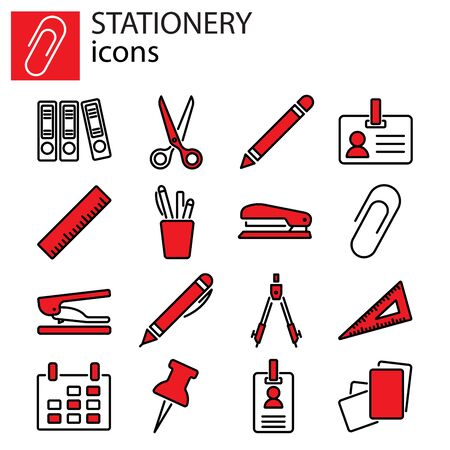 Web icons set. Stationery, office stuff Çizim