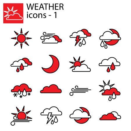 Web line set. Weather set. Weather forecast set for the site Çizim