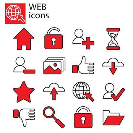 Zestaw ikon internetowych - Podstawowe ikony internetowe, komunikacja internetowa