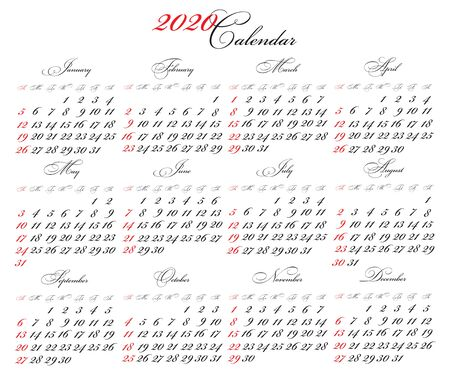 Calendar 2020 vector pocket basic grid. Simple design template. 2020 traditional calendar with colored characters. business template 2020 calendar with calligraphic font