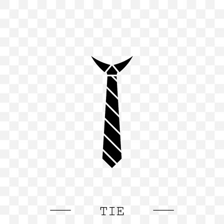 Tie Icon black flat Vector Illustration On white Background Vettoriali