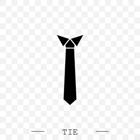 Tie Icon black flat Vector Illustration On white Background Çizim