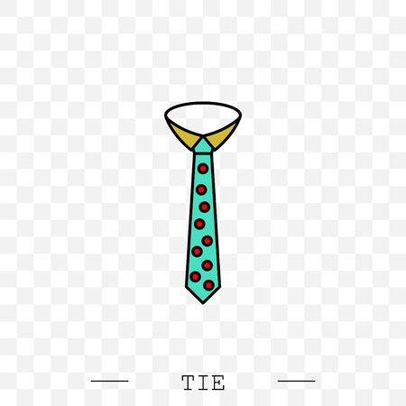 Tie Icon color flat Vector Illustration On white Background