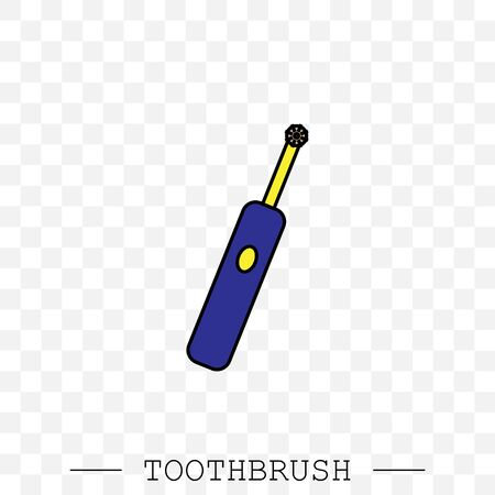 Toothbrush cleans a tooth icon vector. Teeth cleaning. vector with editable stroke. Dental toothbrush icon. dental  toothbrush vector. toothbrush icon in trendy flat. Battery powered. Electric