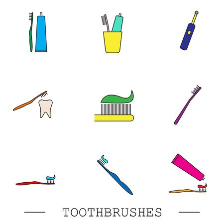 Toothbrush icon set. Teeth cleaning. Electric or conventional toothbrushes. Icon with editable stroke. Collection of color icons. Dental toothbrush icons set. Color set of dental  toothbrush vector