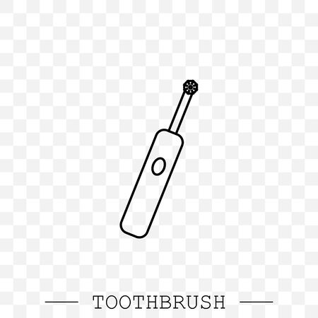 Toothbrush cleans a tooth icon vector. Teeth cleaning. Line, linear with editable stroke. Dental toothbrush icon. dental  toothbrush vector. toothbrush icon in trendy flat. Battery powered. Electric