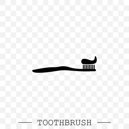 Vector icon of toothbrush with applied toothpaste portion. Toothbrush icon vector. Teeth cleaning. Vector with editable stroke. Dental toothbrush icon. dental toothbrush vector. toothbrush