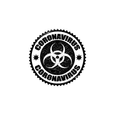 coronavirus icon and round distressed stamp seal with Coronavirus text.