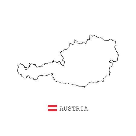 Austria map line, linear thin vector. Austria simple map and flag. Stock Illustratie