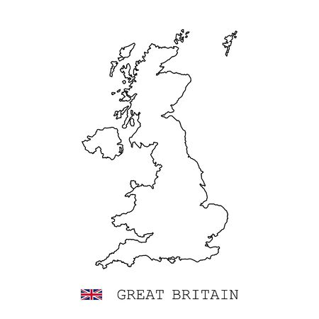 United Kingdom Great Britain map line, linear thin vector. United Kingdom Great Britain simple map and flag. Illustration