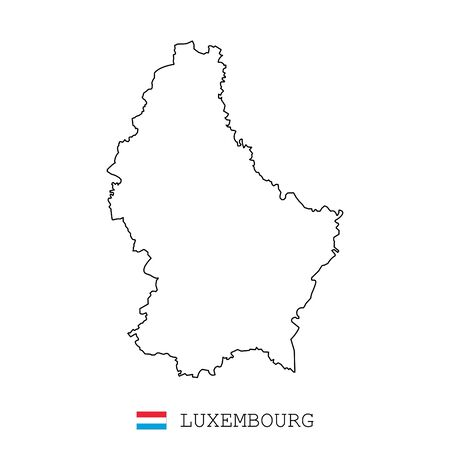 Luxembourg map line, linear thin vector. Luxembourg simple map and flag.