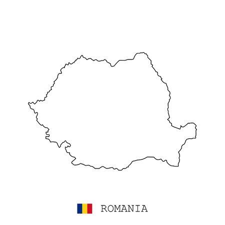 Romania, Rumania map line, linear thin vector. Romania, Rumania simple map and flag.