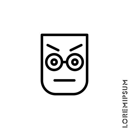Confused Thinking Emoticon Icon Vector Illustration. Outline Style. Whatever Face Emoticon Icon Vector Illustration. Outline Style. Angry icon vector Illustration