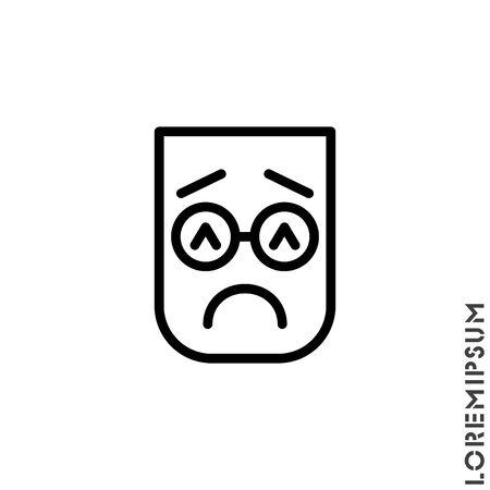 Sad and in a Bad Mood Emoticon Icon Vector Illustration. Outline Style. Depressed, sad, stressed emoji icon vector, emotion, sad symbol. Modern flat symbol web and mobil apps