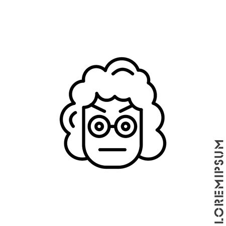 Confused Thinking Emoticon girl, woman Icon Vector Illustration. Outline Style. Whatever Face Emoticon Icon Vector Illustration. Outline Style. Angry icon vector